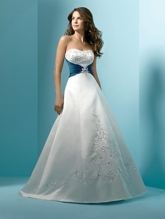 Non traditional wedding dresses dress ideas for the non for White wedding dress with blue accents