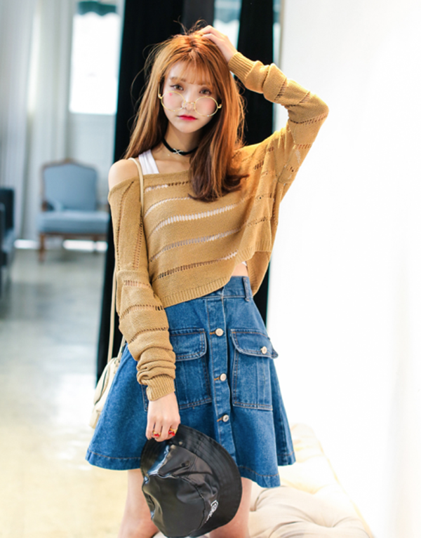 denim skirt outfits (1)