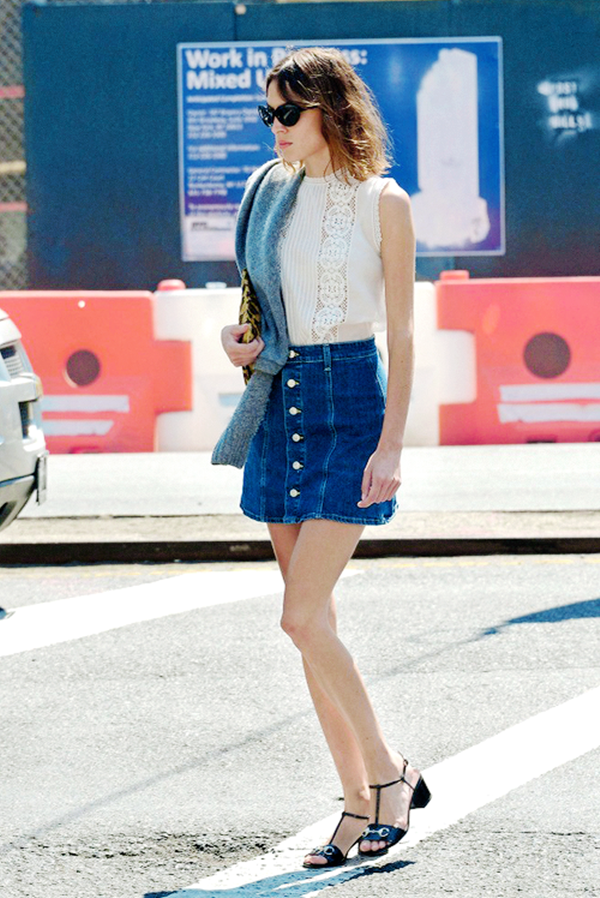 denim skirt outfits (4)