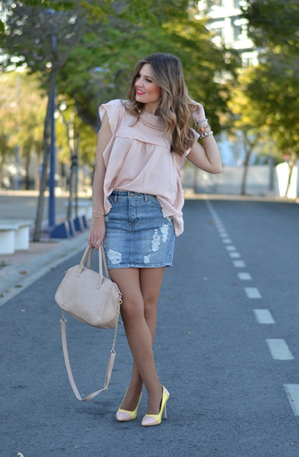 denim skirt outfits (70) - 100 Long And Short Denim Skirt Outfits For Girls
