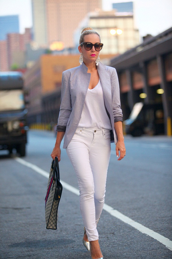 How to wear skinny jeans 100 examples for White pants denim shirt