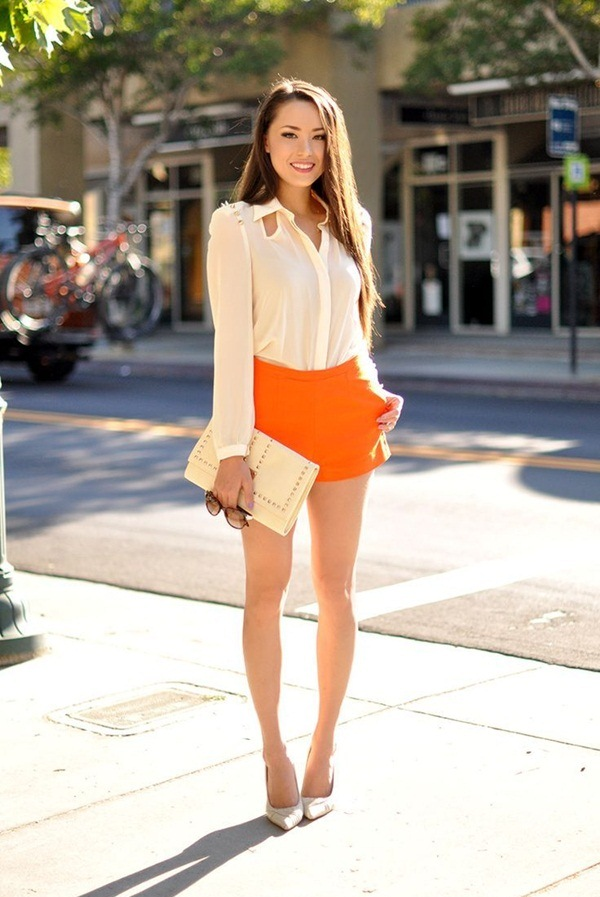 What to wear with high waisted shorts 100 outfits stylish summer outfit in white and orange what to wear with high waisted shorts urmus Images