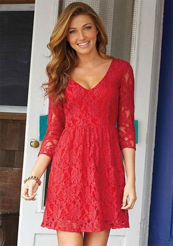 Lacy Mini Red Dress