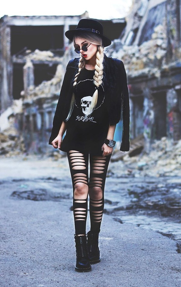 stunning grunge outfits with leggings hair