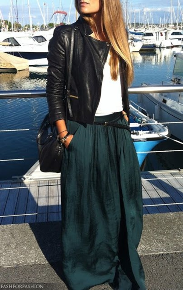 Dark Green Maxi Skirt - Dress Ala