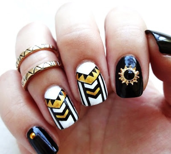 101 simple aztec nail art designs aztec inspired elegant and mystical nail design prinsesfo Images