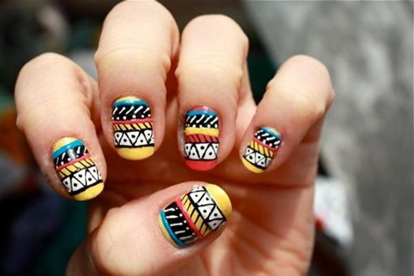 101 simple aztec nail art designs impressive aztec colorful nail art prinsesfo Image collections