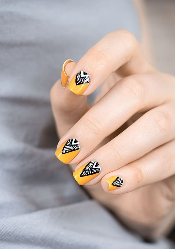 101 simple aztec nail art designs bohemian nail art in yellow and black designs prinsesfo Gallery