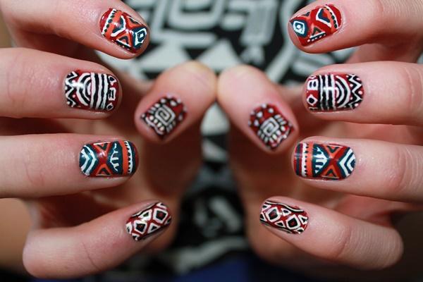 Alluring and Impressionist Aztec Nail Art - 101 Simple Aztec Nail Art Designs