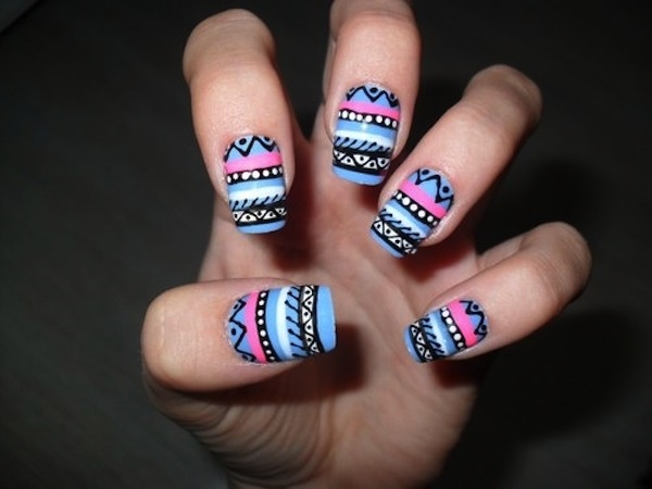aztec-nail-art-50 - 101 Simple Aztec Nail Art Designs