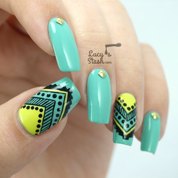 aztec-nail-art-51 - 101 Simple Aztec Nail Art Designs