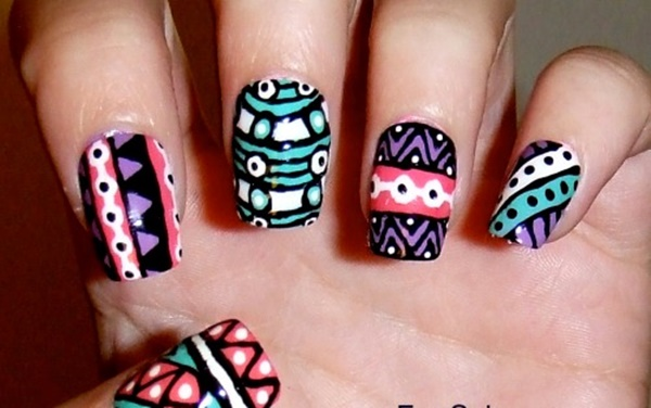 101 simple aztec nail art designs playful aztec designs for party prinsesfo Images