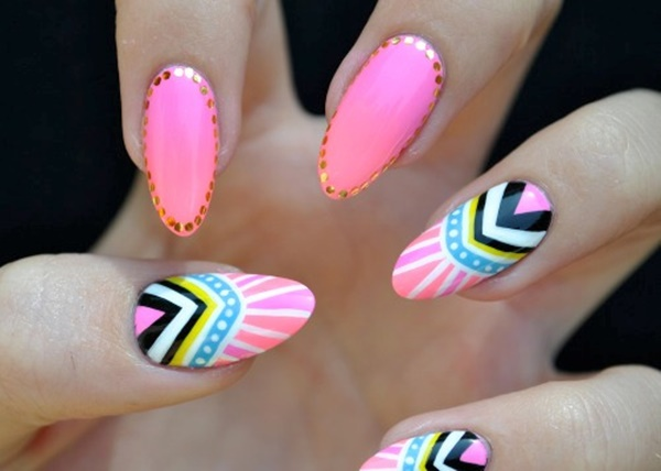 101 simple aztec nail art designs colorful aztec patterns in playful designs prinsesfo Images