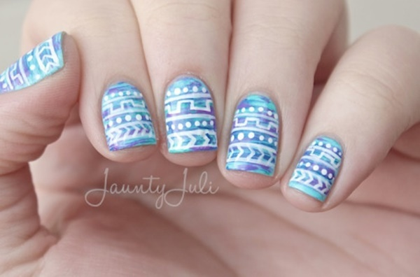 Very detailed nail art nailarts ideas amazing detailed blue and white nail art prinsesfo Choice Image