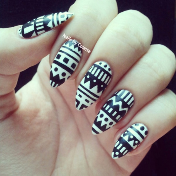 101 simple aztec nail art designs black and white aztec patterns prinsesfo Images