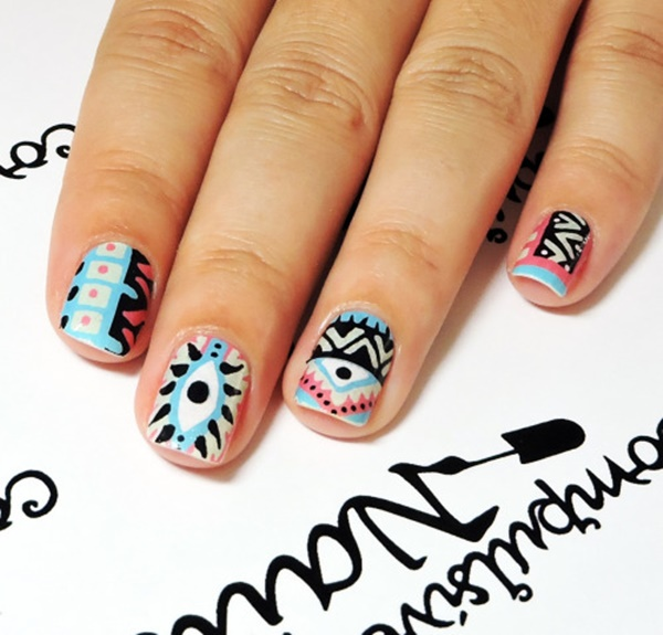 101 simple aztec nail art designs playful aztec patterns for party teens prinsesfo Images