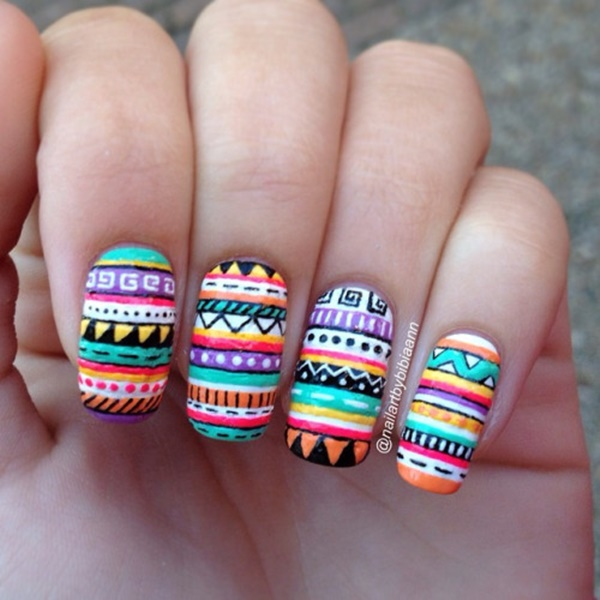 aztec-nail-art-88 - 101 Simple Aztec Nail Art Designs