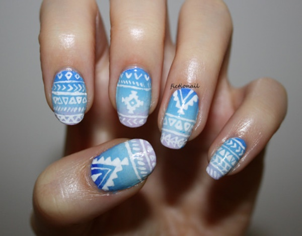 Blue and White Tribal Nail Designs aztec-nail-art-99 - 101 Simple Aztec Nail Art Designs