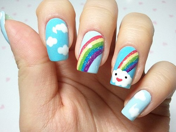 Amazing Clouds and Rainbow Nail Art - How To Make Rainbow Nail Art Designs