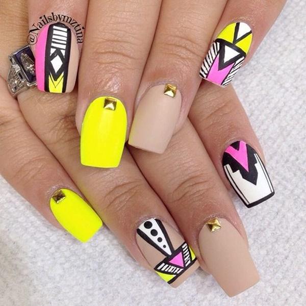101 Simple Aztec Nail Art Designs