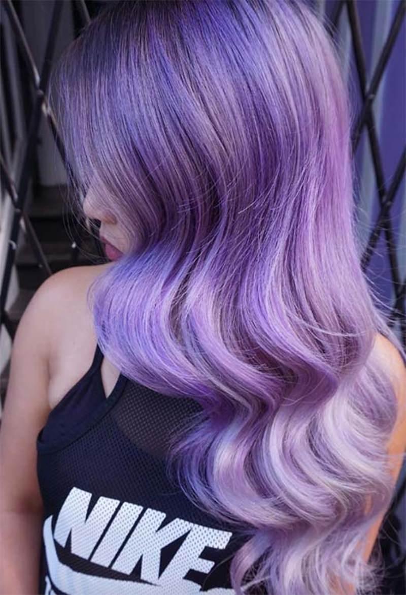 highlighted lavender hair