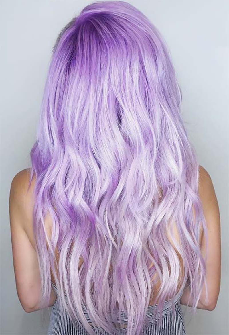 long and light lavender hair