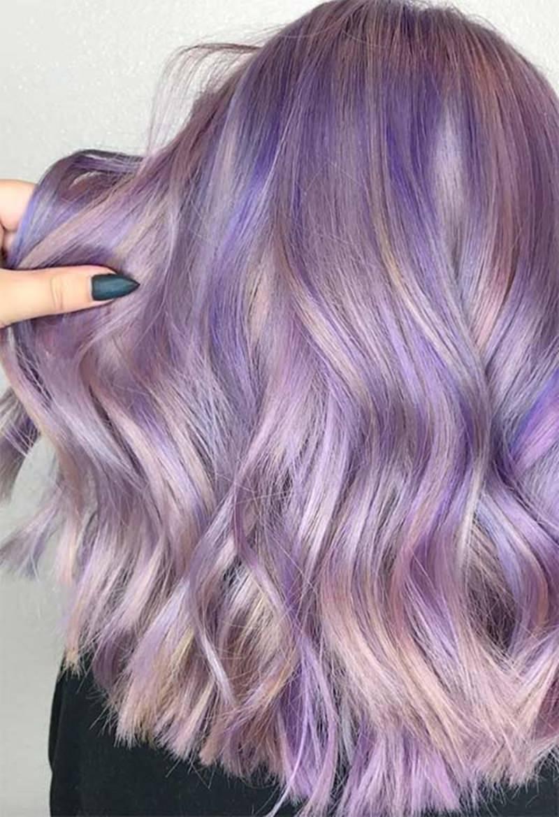slightly wavy lavender hair