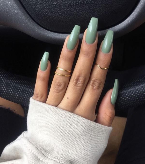 Striking green nail polish