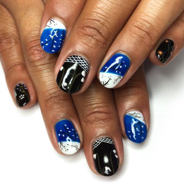 Blue and black nail polish combo