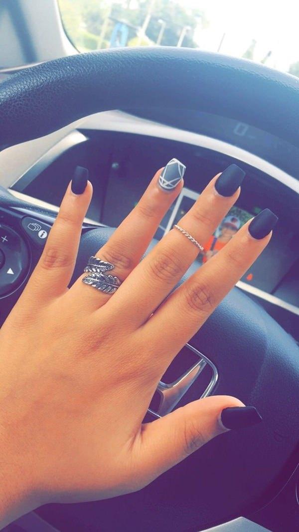 Matte dark blue nail finish