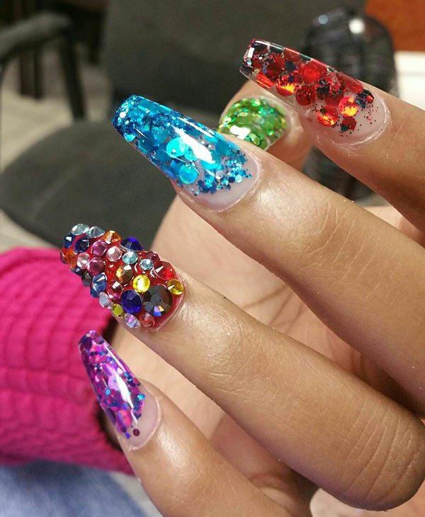 Very colorful false nails design