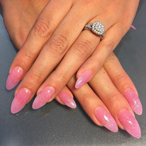 Medium hue of pink for false nails design
