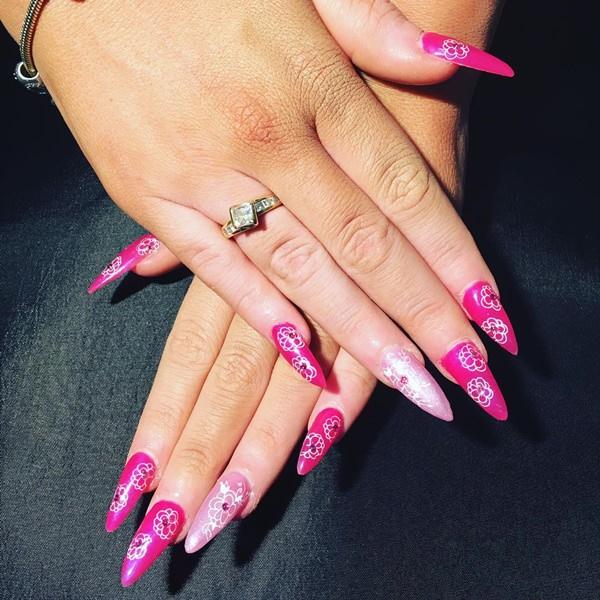 Bright pink fake nails