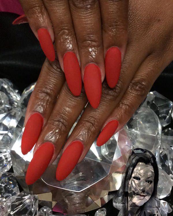 Long red nail design