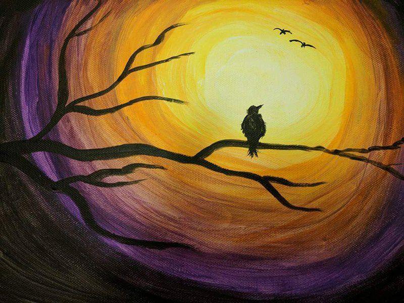 bird and night canvas painting