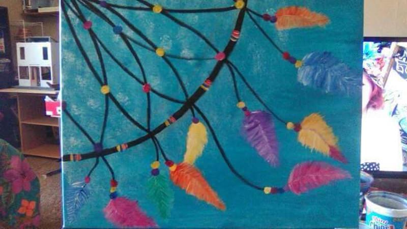 colorful dreamcatcher canvas painting