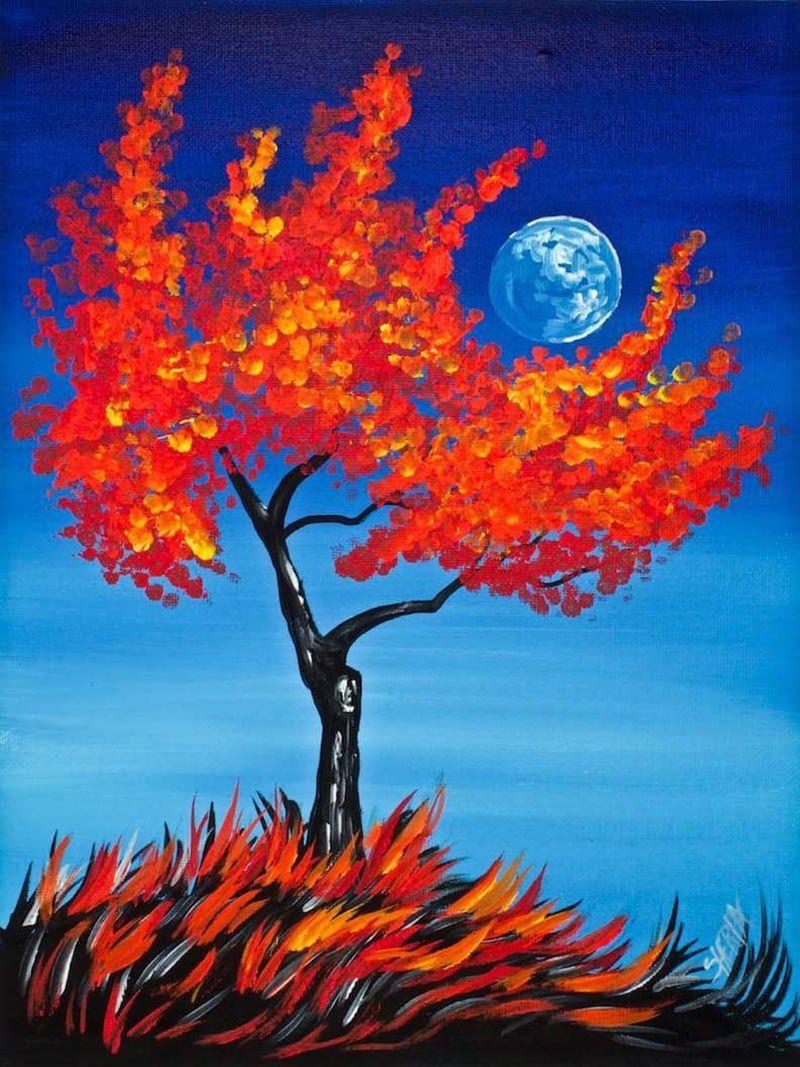 orange tree canvas painting