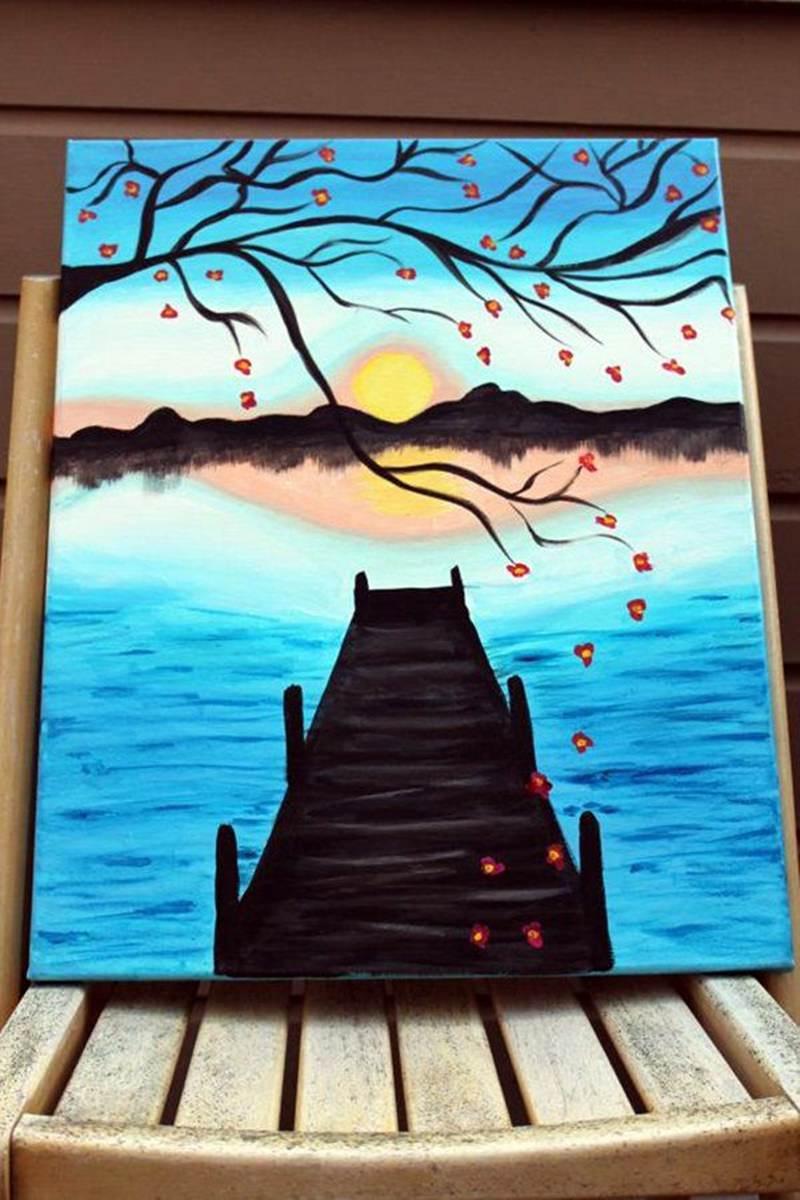 lake canvas painting