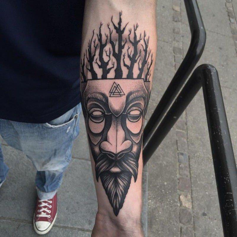 Traditional Viking Head Tattoo