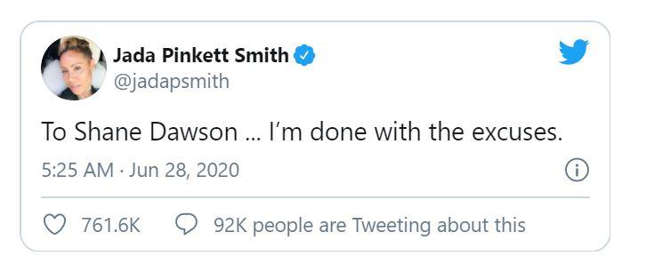 Jada Pinkett Smith addressed a tweet to Shane